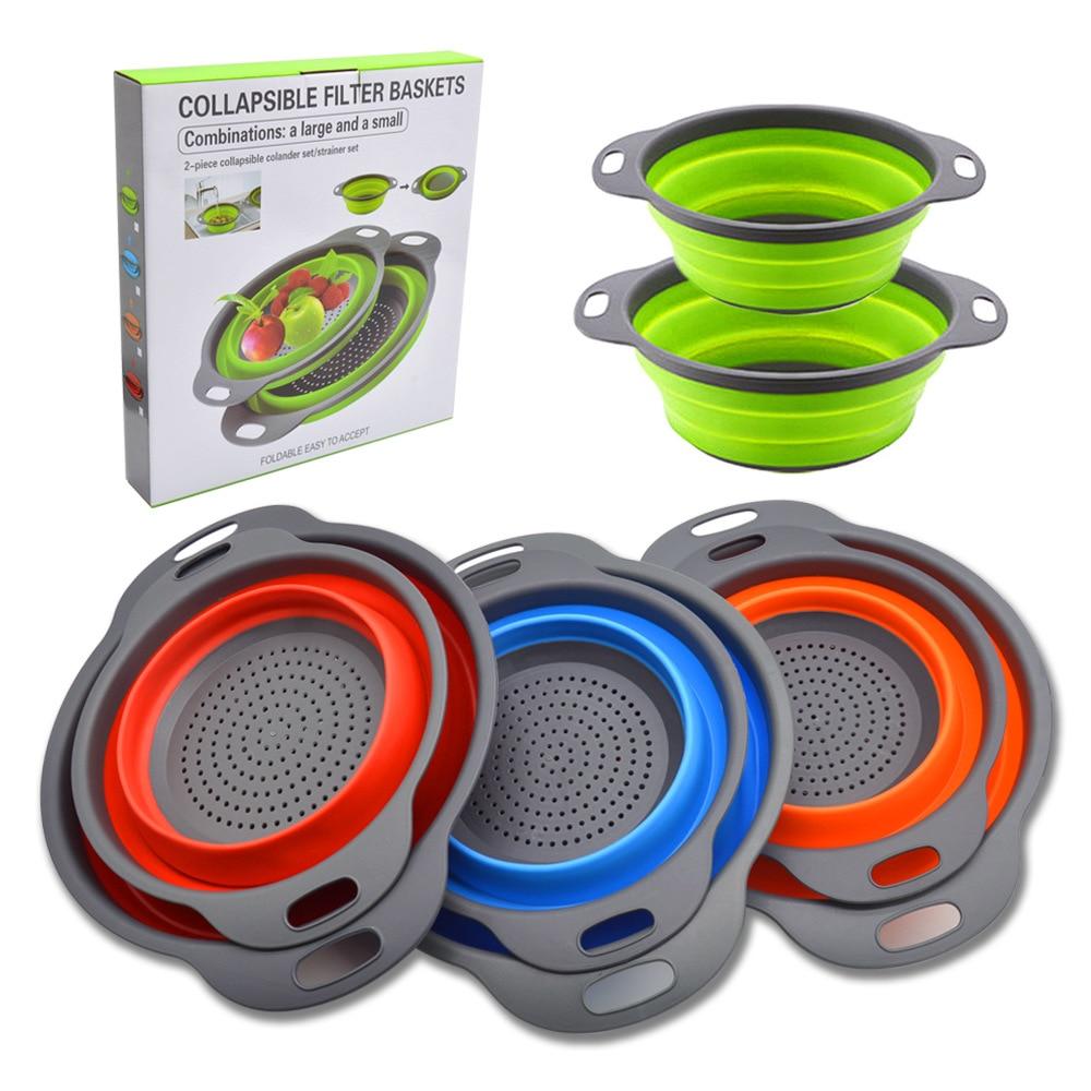 2pcs/Set Kitchen Tools Foldable Silicone Colander Fruit Vegetable Washing Basket Strainer Collapsible Drainer