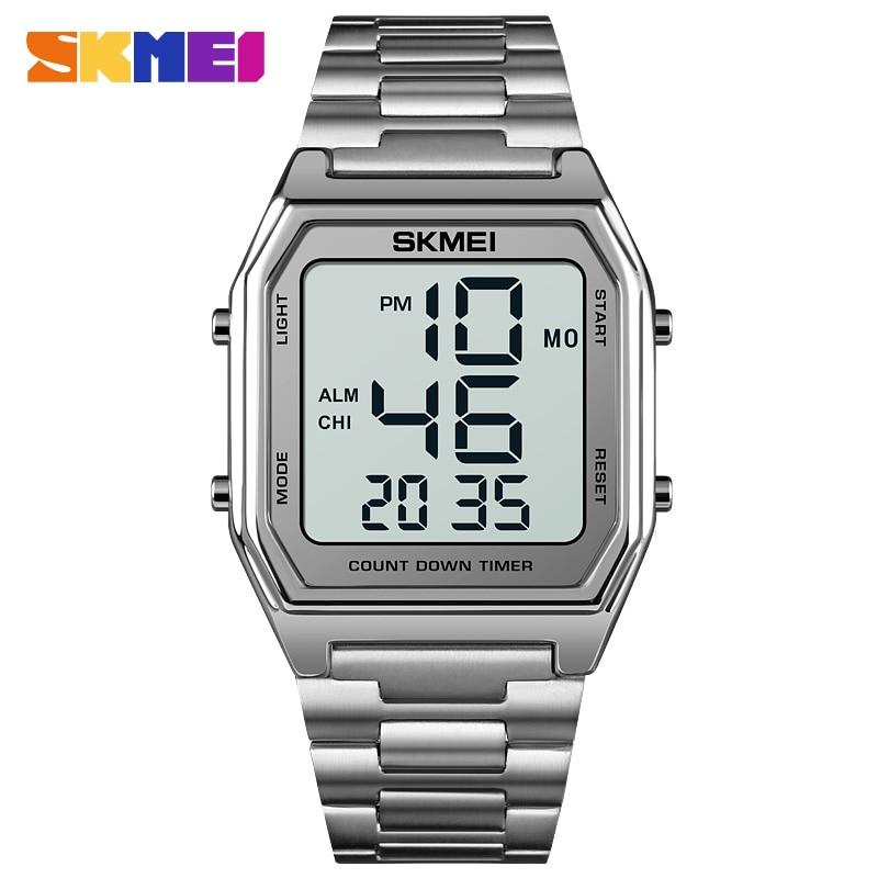 Часы наручные SKMEI Мужские Цифровые, брендовые светодиодные электронные с секундомером, с 2 временами, с обратным отсчетом