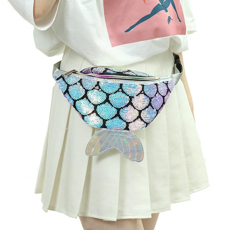 Women PU Cartoon Sequin Waist Pack Girl Colorful Adjustable Belt Bag Pocket New Mermaid Pillow Chest Pack Gliterring Phone Poach