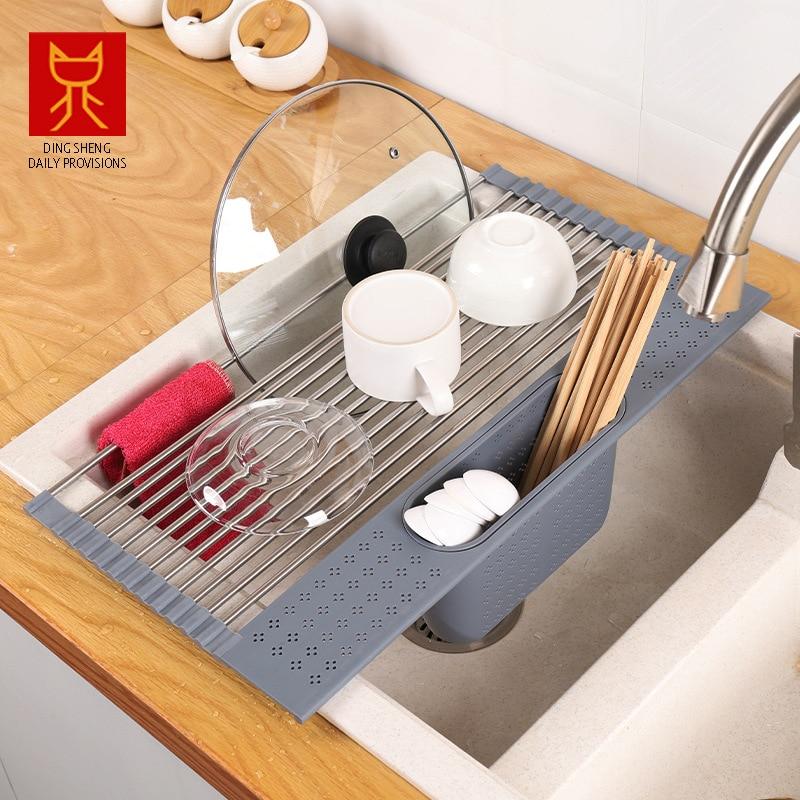 بالوعة المطبخ نشمر رف لتجفيف الأطباق المنزل الجرف أدوات المائدة تخزين الرف تجفيف تلسكوبي بالوعة حامل تخزين استنزاف سلة