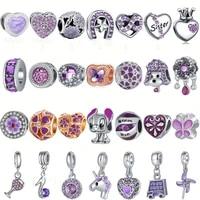 purple color infinite shine sweet home beads fit jewelry original charms bracelets pendant trinket jewelry for women diy making