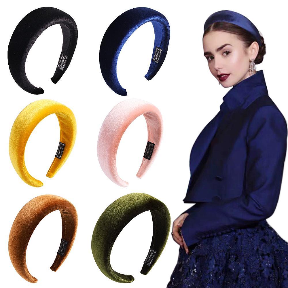 Moda sólida engrossar acolchoado hairbands bezel para mulheres meninas esponja veludo hairbands hoop meninas acessórios para o cabelo headwear