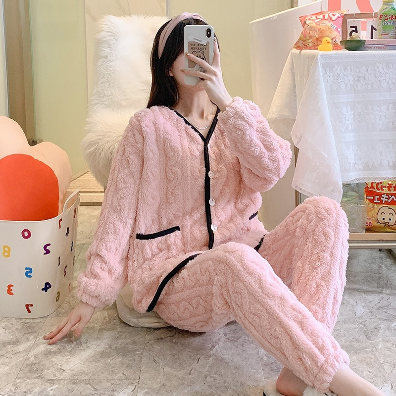 Coral Velvet Pajamas Women's Spring And Autumn Winter Flannel Thickened Long Sleeved Cardigan Home C