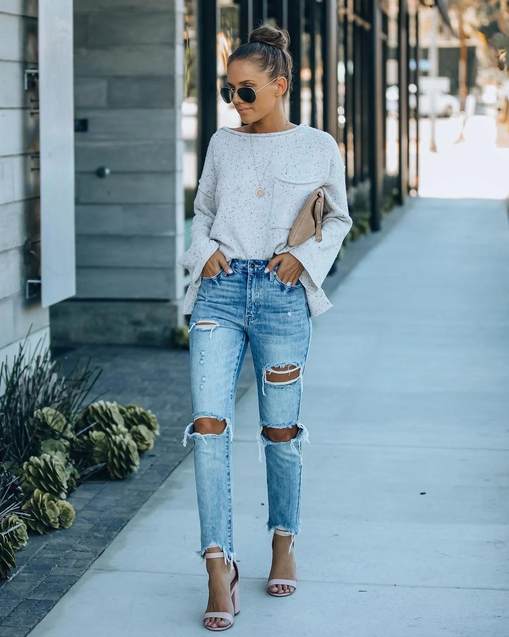 Уличные хипстерские рваные прямые брюки, джинсовые брюки со средней посадкой, женские брюки, женские брюки, джинсы с высокой посадкой, женск...