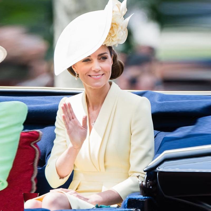 Kate Middleton Hohe Qualität Herbst Neue WomenS Fashion Arbeitsplatz Party Sexy V-ausschnitt Vintage Elegante Chic Langarm Midi Kleid
