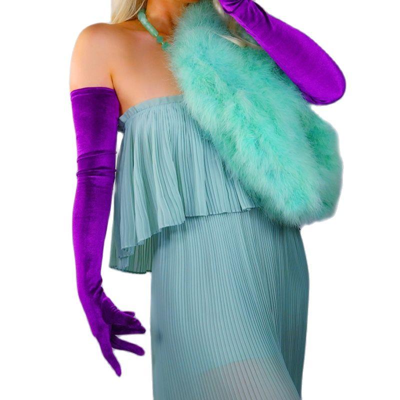 Велюровые длинные перчатки 70 см, очень длинные, темно-фиолетовые, женские высокоэластичные бархатные женские перчатки, Вечерние перчатки д...