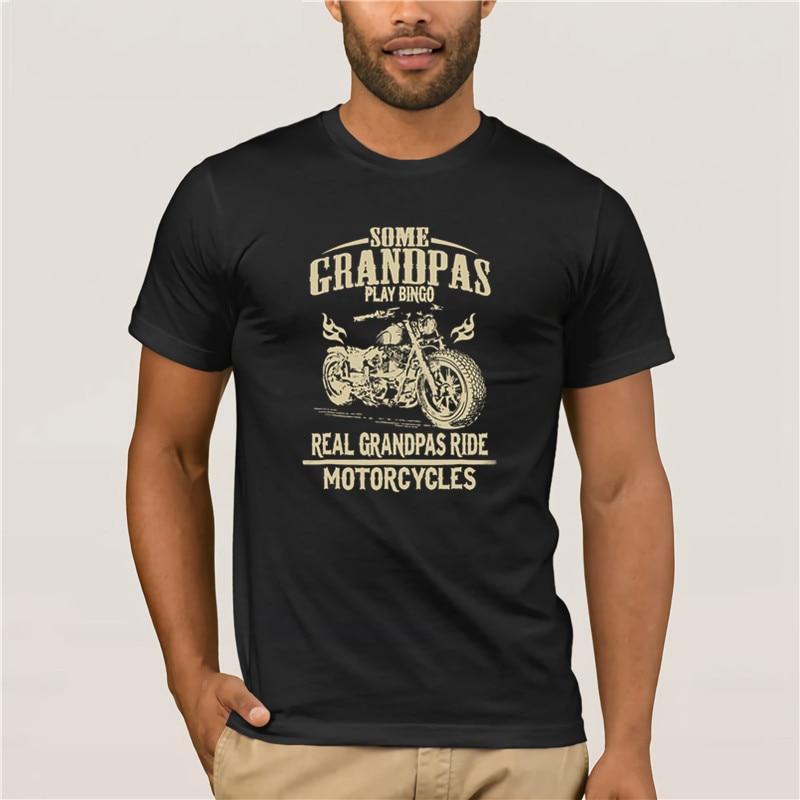 100% marca de algodón camisa de manga corta para hombres hombre Real abuelos en motocicleta, abuelo de moda camisa de verano