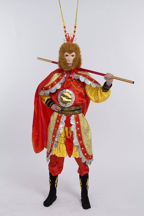 Adulto dos homens trajes de macaco sun wukong traje novo legal festa de halloween macaco rei cosplay tv palco mostrar traje chinês
