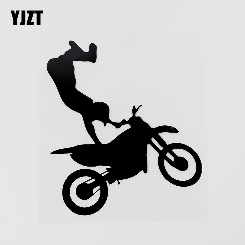 Yjzt 11.9cmx13.6cm motocross corrida esporte silhueta decalque vinil etiqueta do carro preto/prata 8a-0811