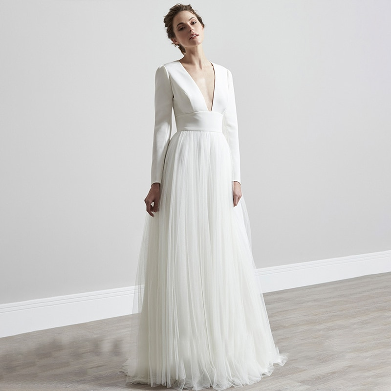 Long Sleeves Satin Tulle Wedding Dress A Line Deep V Neck Custom Made Buttons Hollow Back Summer Bea