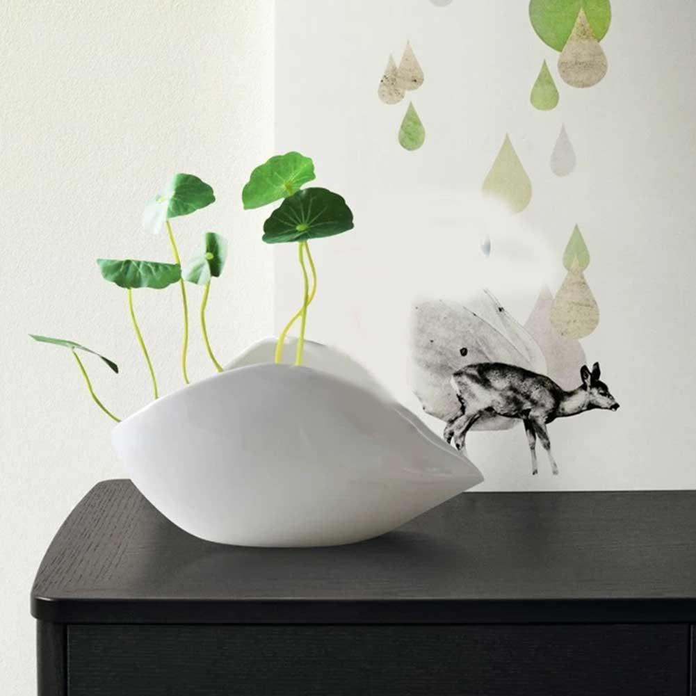 ¡Oferta! 1 florero de cerámica con forma de concha, florero Simple, contenedor de plantas, adornos para el hogar y la Oficina TI99