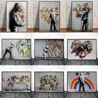abstract love heart street art graffiti posters and prints wall painting on canvas art printing pictures for living room decor