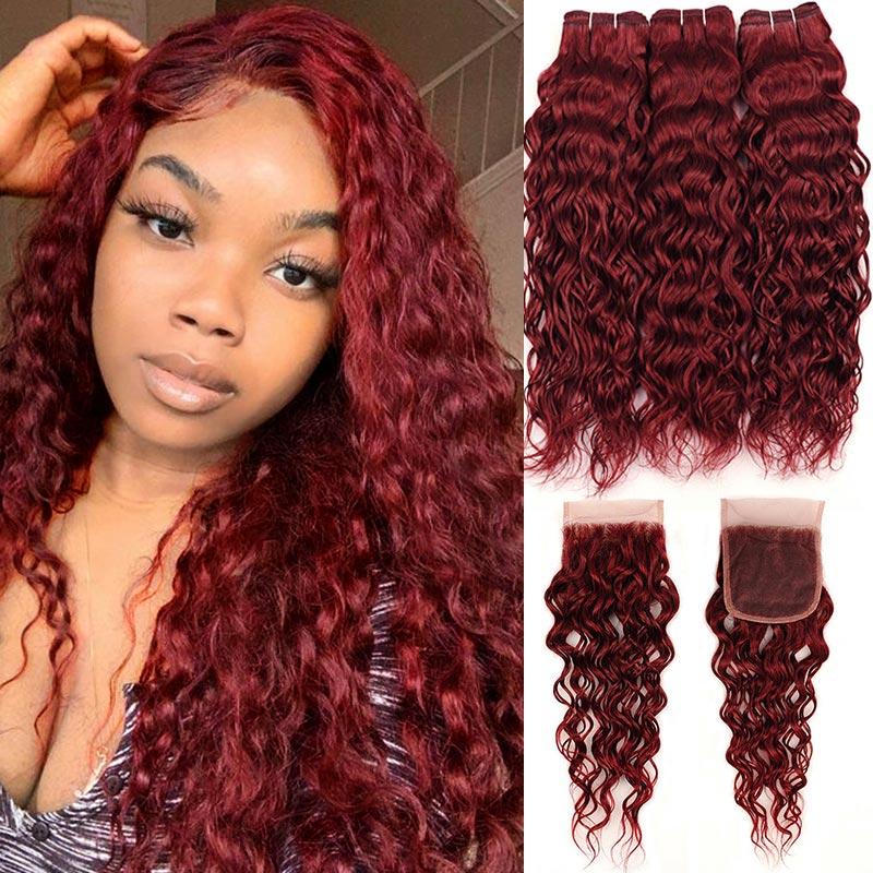 99J جريئة الأحمر موجة المياه حزم مع إغلاق شعر ريمي الملونة بورجوندي البرازيلي الشعر البشري 3 حزم مع إغلاق Pinshair