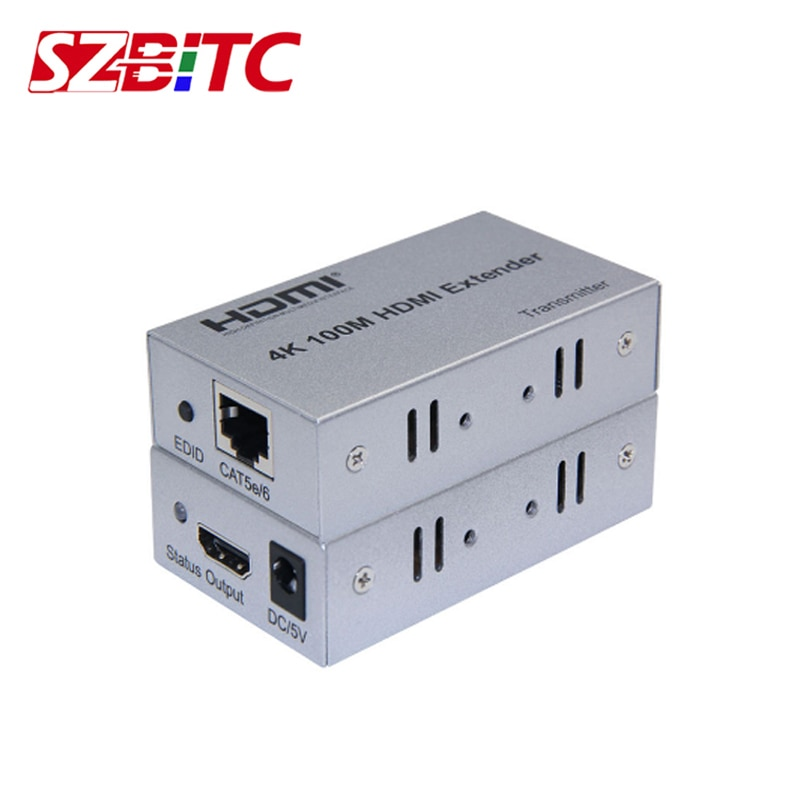 SZBITC 4K HDMI extensor 100m por cat5e/6 cable Ethernet HDMI transmisor receptor azul para PC reproductor de DVD 4K HDTV