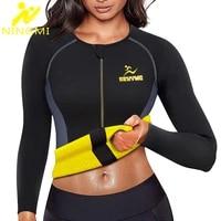 ningmi slimming body shaper waist trainer for women zipper blouse neoprene sauna vest warming shirt long sleeve jacket shapewear