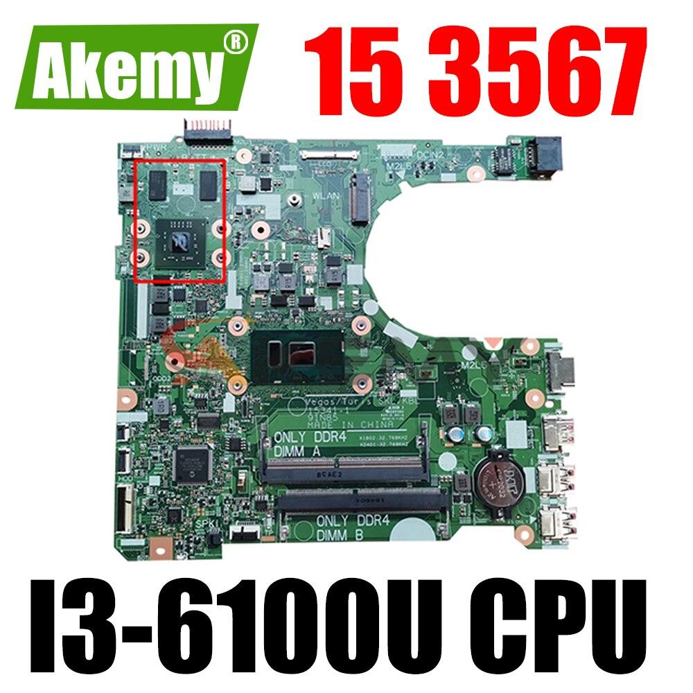شحن مجاني لأجهزة الكمبيوتر المحمول ديل انسبايرون 15 3567 اللوحة CN-0XXF7P 0XXF7P XXF7P 15341-1 مع SR2EU I3-6100U 100% اختبار العمل