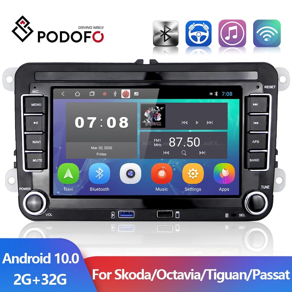 Podofo 2 din 7'' Android 10.0 Car Radio GPS WIFI Car Multimedia Player For Golf/Polo/Tiguan/Passat/b7/b6/SEAT/leon/Skoda/Octavia