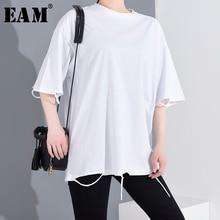 [EAM] Women Whitr Holes Split Joint Big Size T-shirt New Round Neck Half Sleeve  Fashion Tide  Spring Summer 2020 1T51600