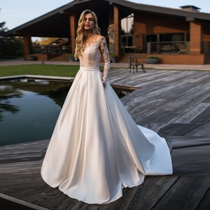 Sheer Nude Lace Long Sleeves Wedding Dress with Pocket Matte Satin Court Train Beach Bridal Gowns vestidos novia