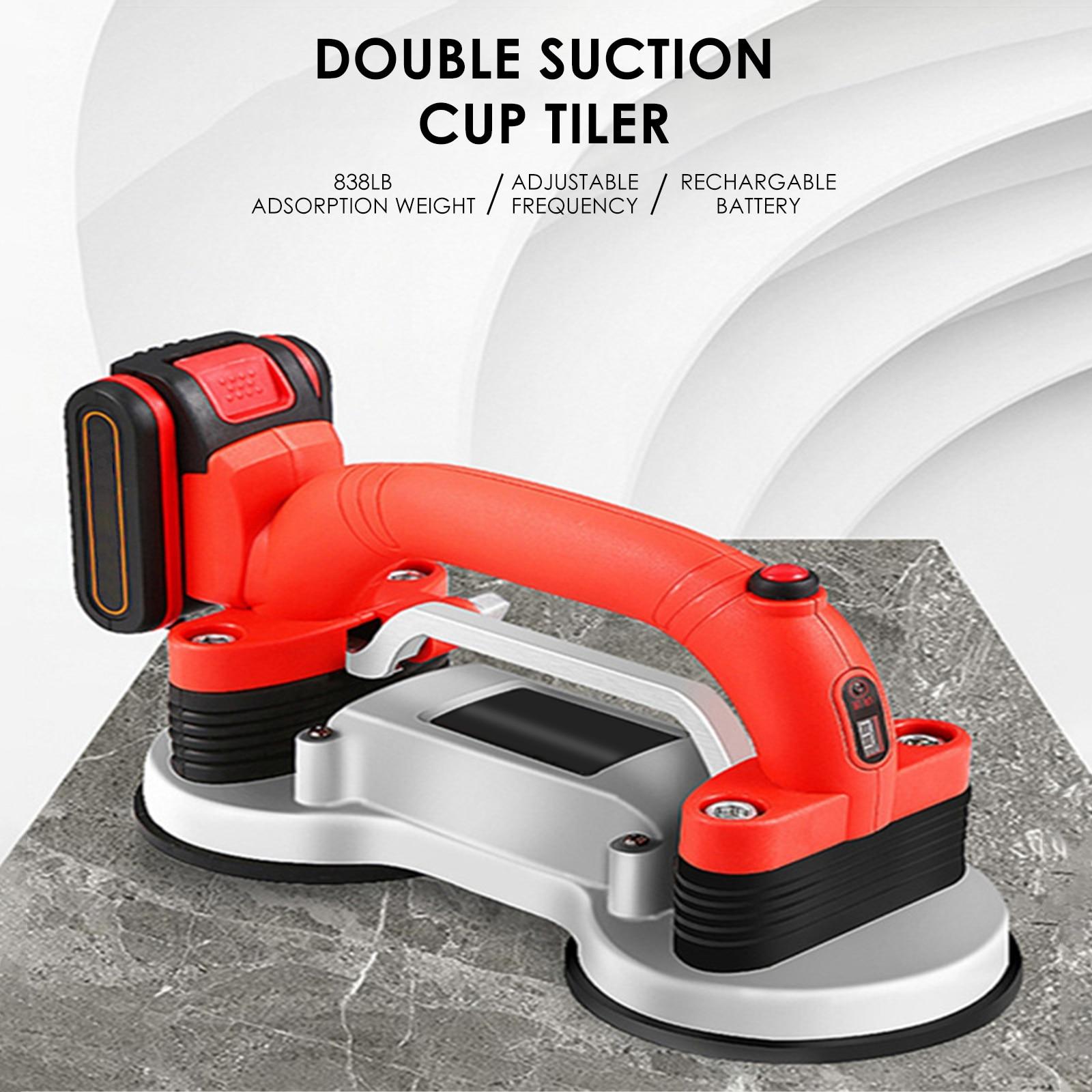 21V Professional Double Suction Cup Tiler Machine for Kitchen Living Room Shower Base Wall Tiles Vibrator Tile Leveling Device