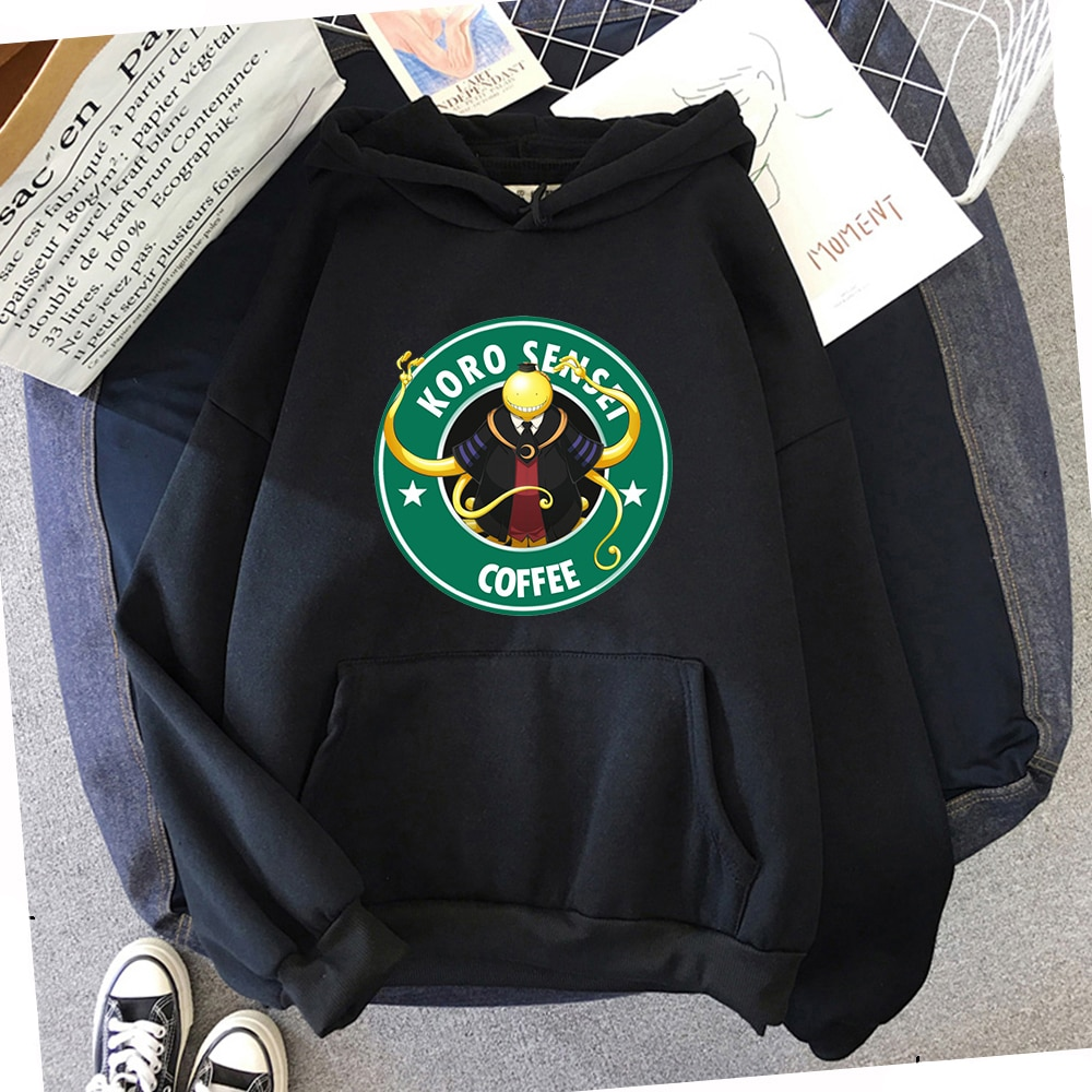 Japanese Fashion Anime Hoodied Assassination Classroom Cartoon graphic printed men/women funny loose hoodies couple Sweatshirt