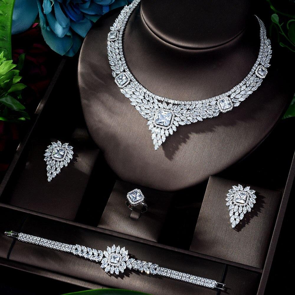 HIBRIDE الأزياء والمجوهرات مجموعة للفتيات جذابة الزفاف مجوهرات معلقة مجموعات مع تألق الكريستال زركونيا N-1149