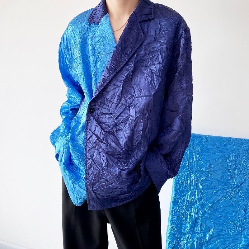 ياباني مطوي عتيق السترة طوق لصق اللون كم طويل فضفاض قمصان غير رسمية الرجال الشارع الشهير موضة قميص رجل بلايز بلوزة