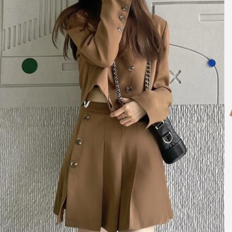 Женский костюм с юбкой, милый крутой стильный короткий костюм, пальто из двух предметов, дизайн маленького размера, Женский костюм на раннюю...