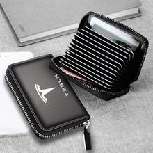 Brand Genuine Leather bag Credit Card Driver License Business Card Holder Wallet  for Tesla Model 3