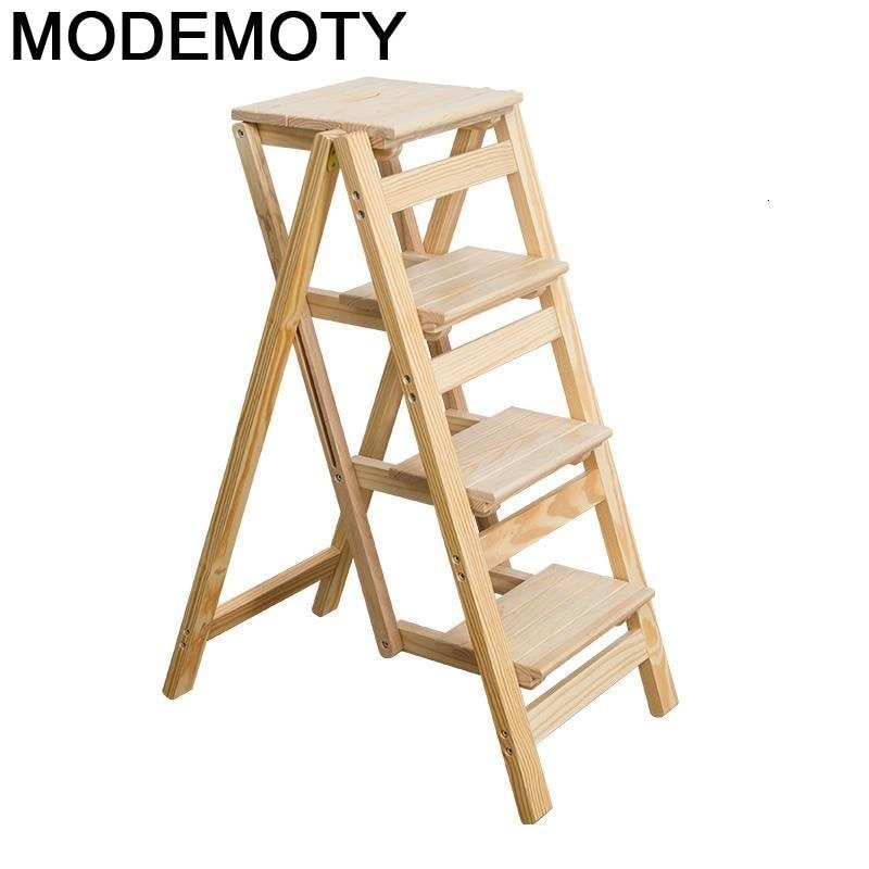 Sgabelli-Taburete Plegable de madera, silla escalonada de madera, Plegable