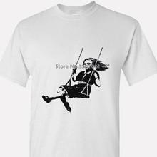 Banksy - Girl On Swing - Graffiti Art T Shirt Brand Cotton Men Clothing Male Slim Fit T Shirt coat clothes tops