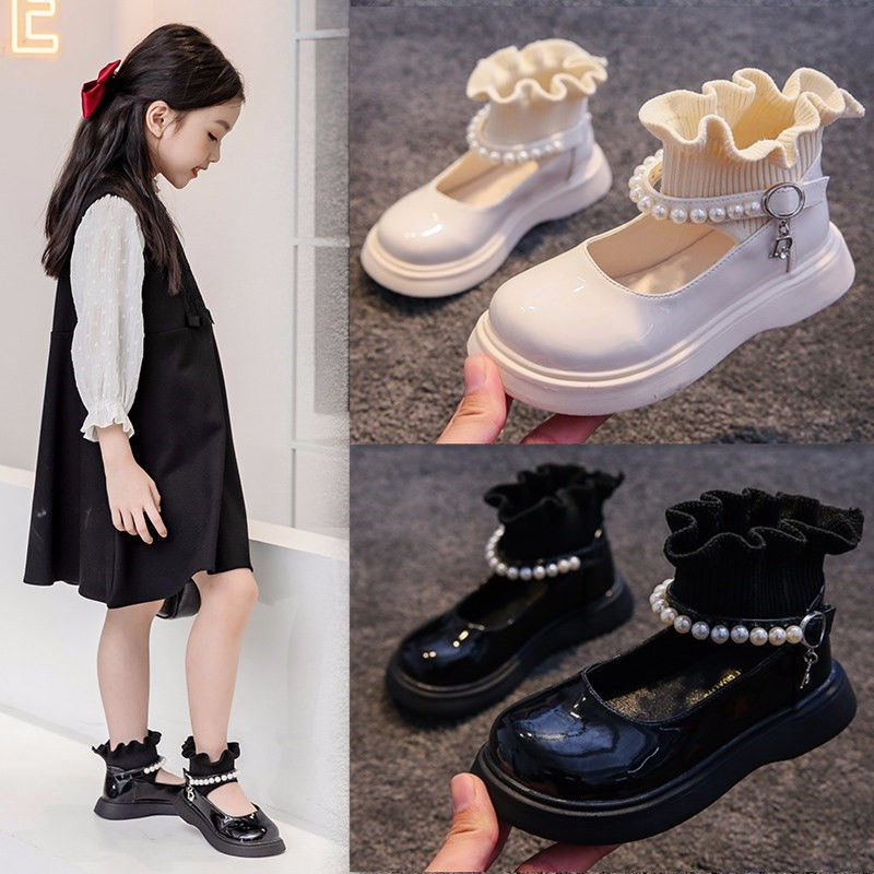 Girls Garden Shoes Childrens  PU Leather Shoes All-match Princess Shoes High-top Socks Shoes Spring