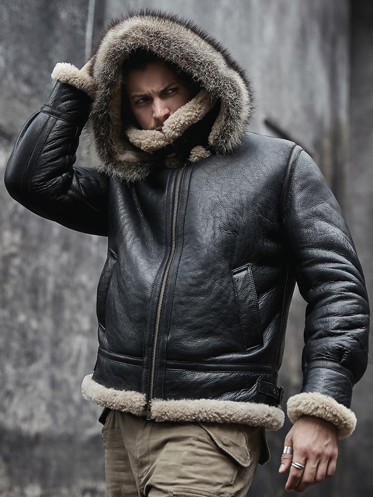 2020 New Mens Sheepskin Shearling Jacket Detachable Hooded B3 Flight Jacket Raccoon Fur Collar Aviator Coat
