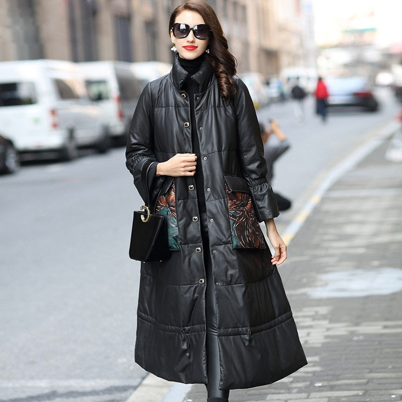 Winter Real Leather Printed Pockets Plus Size Outwear Loose Large Black Long Sheepskin Genuine Leather Down Coat High Quality