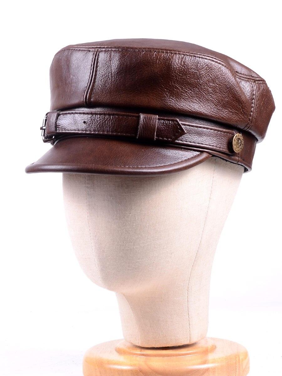 قبعة مسطحة عسكرية من الجلد الطبيعي للرجال والنساء ، قبعة مسطحة عصرية