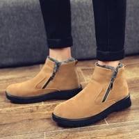 Hommes chaussures hommes bottines mode haut de gamme en cuir chaussures hiver en peluche chaud bottes de neige hommes en plein air mode
