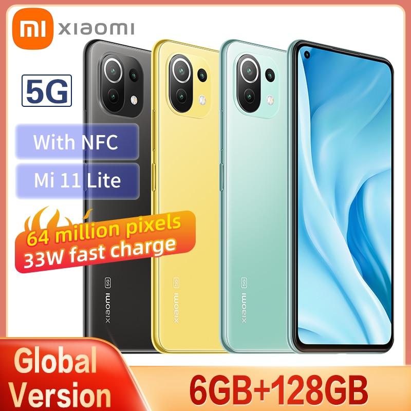 Global 5G Version Xiaomi Mi 11 Lite Smartphone RAM6GB+ ROM128GB Snapdragon 780G AMOLED Full Screen 64MP 4250mAh Battery With NFC