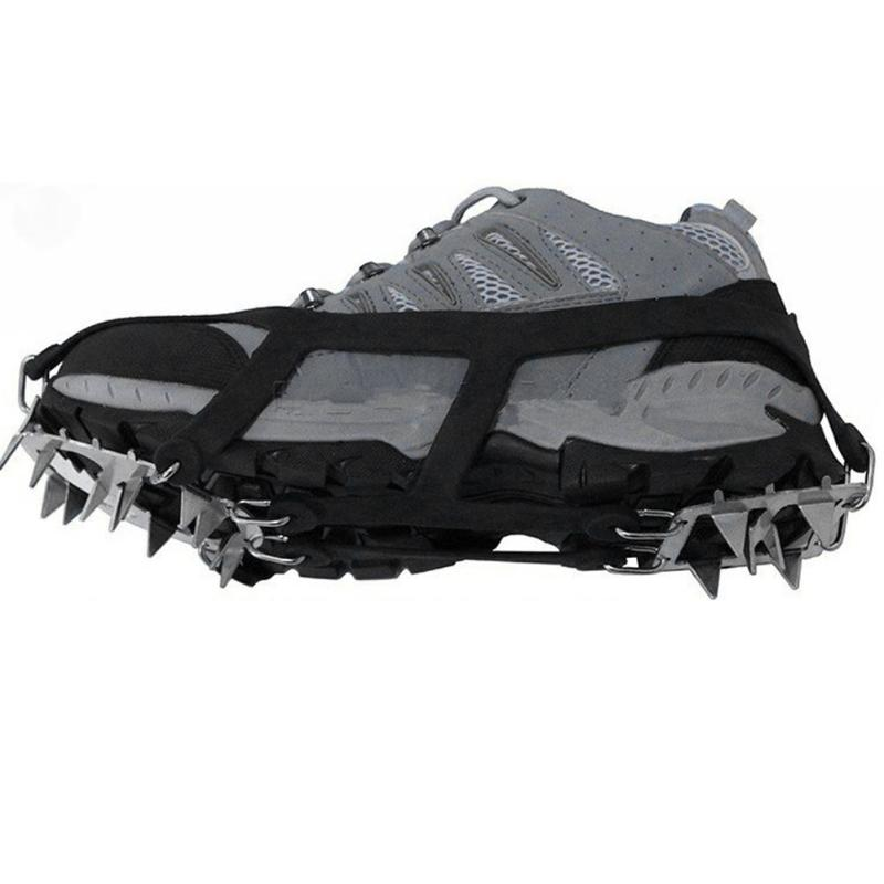 18 Teeth Fishing Ice Snow Shoe Spiked Grips Cleats Crampons Winter Climbing Camping Anti Slip  Hiking Snowshoes Shoe Cover Pesca