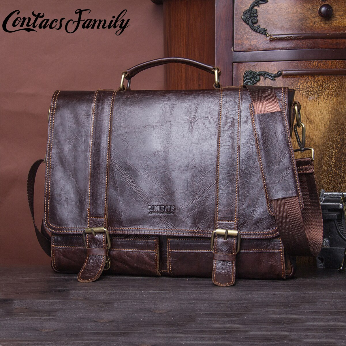 Retro Luxury Men's Briefcase Genuine Leather Business Handbag Laptop Document Messenger Bag Male Crossbody Shoulder Bolsas