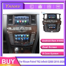 Newest Dual screen Android car radio receiver for Nissan patrol Y62 for infini qx80 2010-2020 car GP