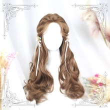 High Quality Soft Girl Lolita Angel 65Cm+ Honey Pudding ColorMiddle Parting Wig