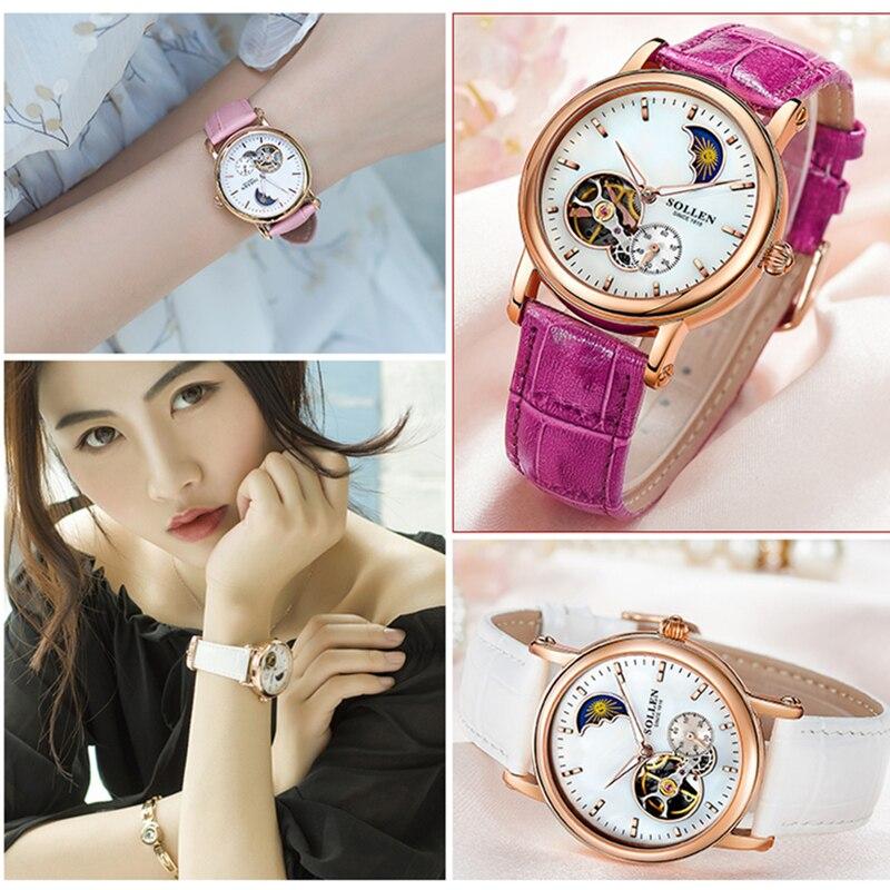 SOLLEN Women Automatic Watches Tourbillon Luxury Brand Luminous Starry Hollow Love Face leather Lady Mechanical Wristwatch 401 enlarge