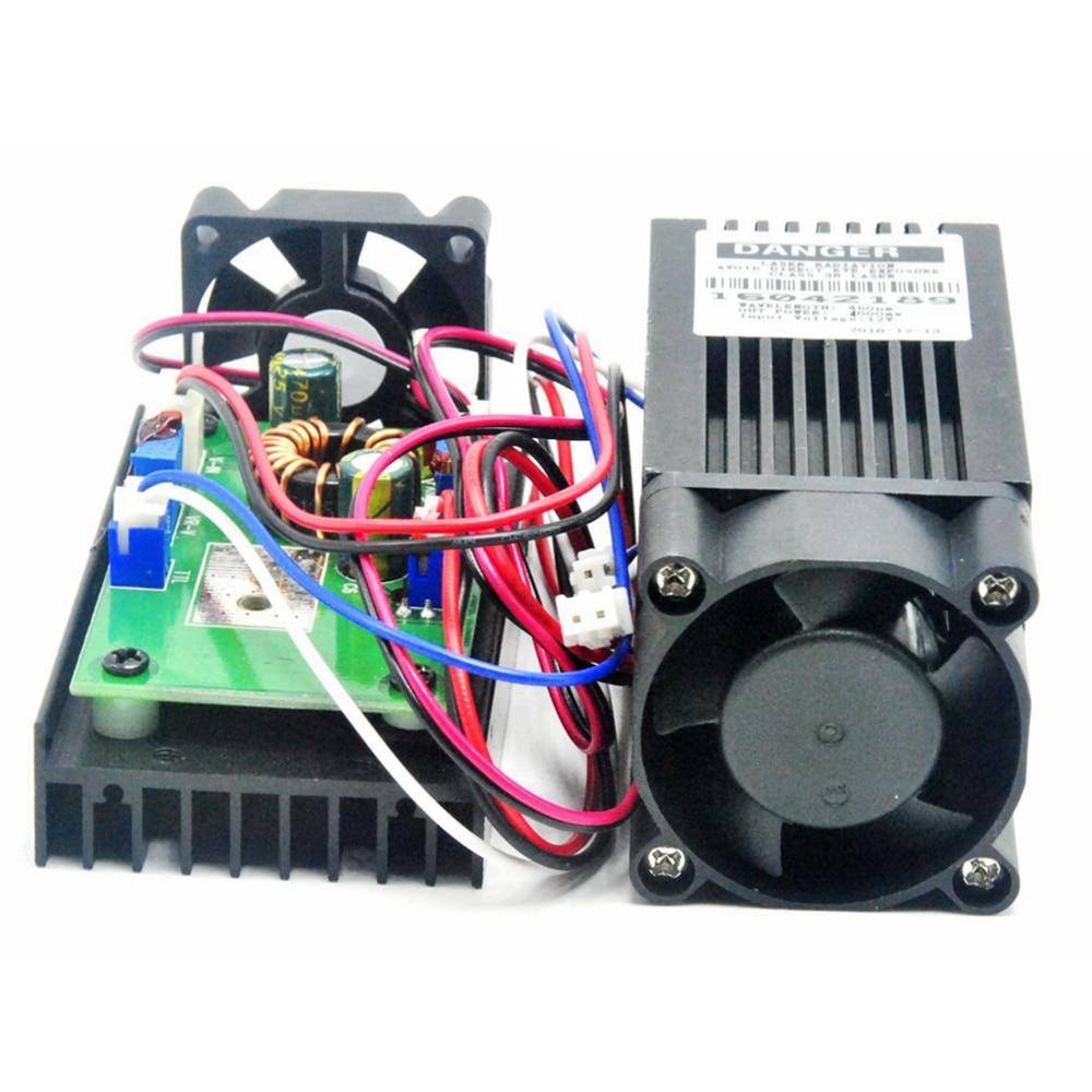 High Power 12V TTL High Power 450nm 4W 4000mw Adjustable Blue Laser Dot Module Engraver with Heatsink
