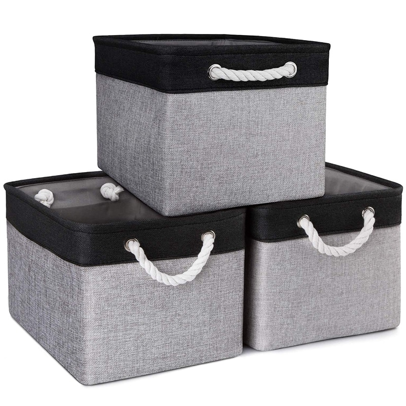 سلات تخزين [3-Pack] علب تخزين قماش قابلة للطي للعب الأحذية سلال القماش الزخرفية صناديق لتنظيم