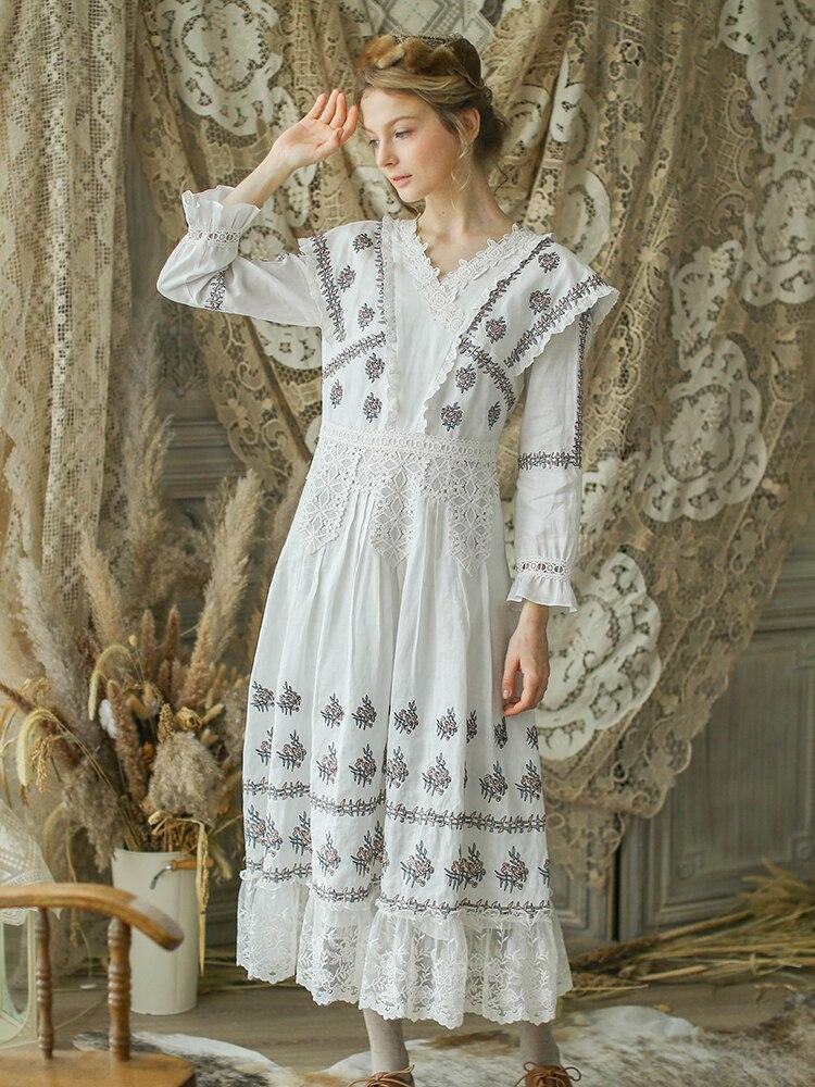 فستان طويل مطرز ، أنيق ، نحيف ، دانتيل أبيض ، مجموعة خريف وشتاء 2020