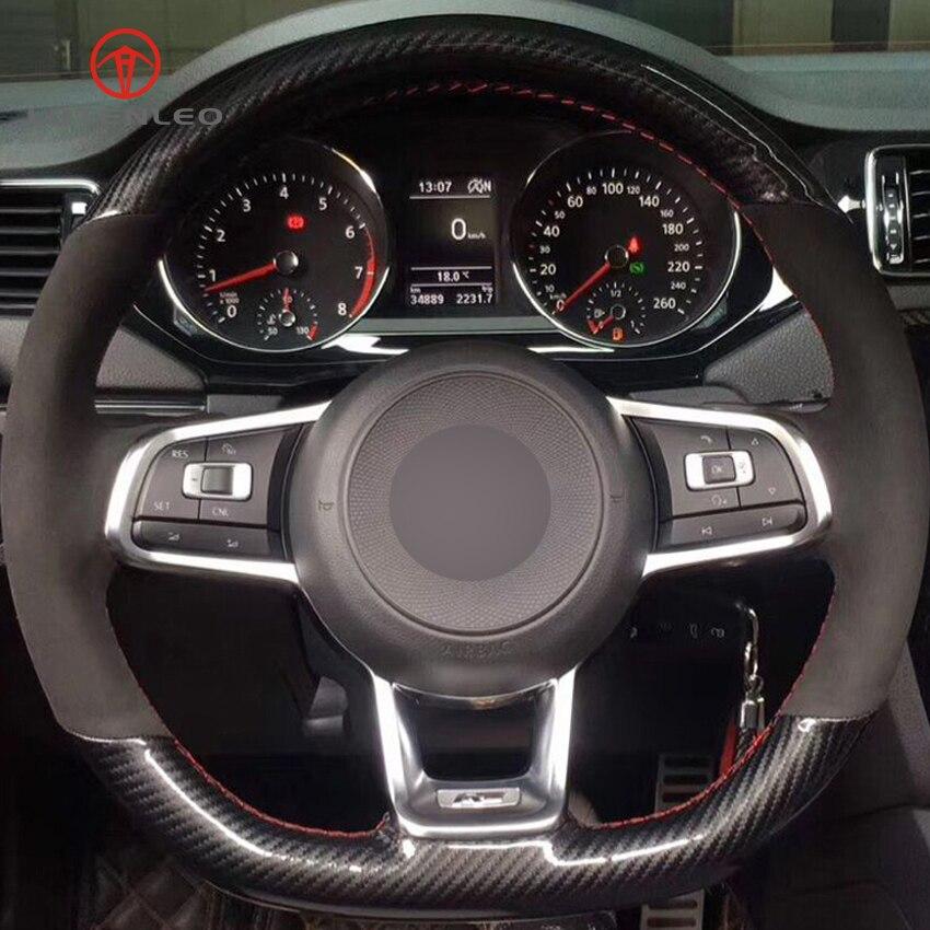 Funda de cuero de fibra de carbono LQTENLEO para volante de gamuza negra para Volkswagen Golf 7 GTI Golf R MK7 Polo GTI Scirocco 2015 2016