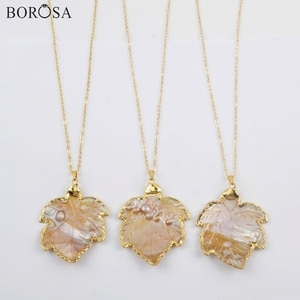 BOROSA Pear Shell Necklace, 5/10Pcs Gild Hand-carved Leaf Natural Pearl Shell Pendant Sea Shell 26inch Necklace Jewelry G1909