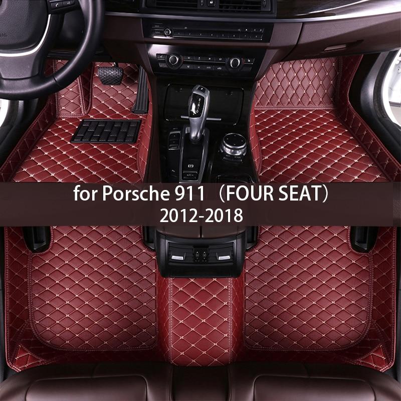 leather Car floor mats for Porsche 911(FOUR SEAT)2012 2013 2014 2015 2016 2017 2018 Custom auto foot Pads automobile