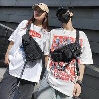 waist bag men and women black sports cool fanny packs couples chest packs shoulder crossbody street harajuku canvas shoulder bag