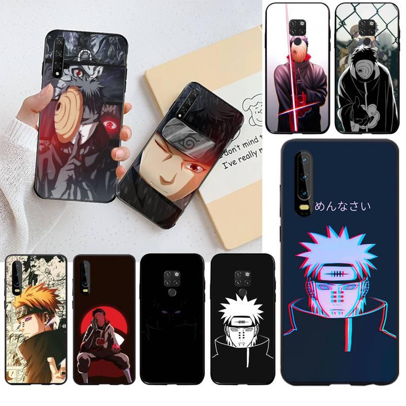 HPCHCJHM Naruto Uchiha Obito dolor suave negro caja del teléfono de la cáscara del teléfono de Capa para Huawei P30 P20 lite amigo 20 Pro lite P Smart 2019